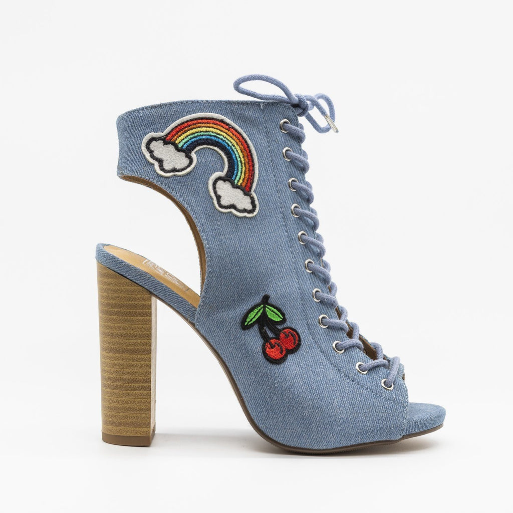 Womens Fun Lace-Up Peep-Toe Heels - Speedlimit 98 Shoes - Denim / 5