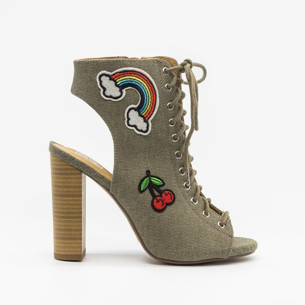 Womens Fun Lace-Up Peep-Toe Heels - Speedlimit 98 Shoes - Light Olive / 5