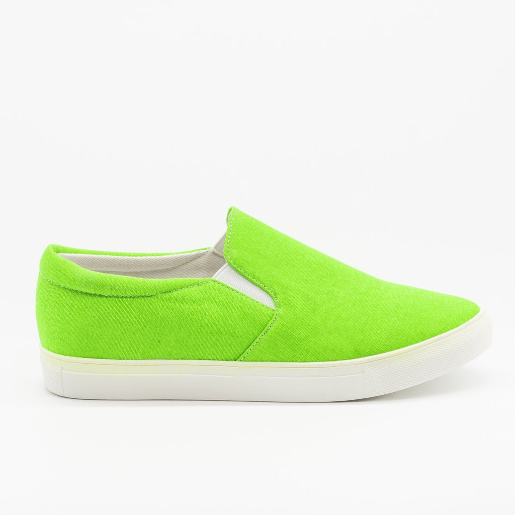 Womens Fun Neon Slip-On Sneakers - La Sheelah Shoes - Neon Green / 5