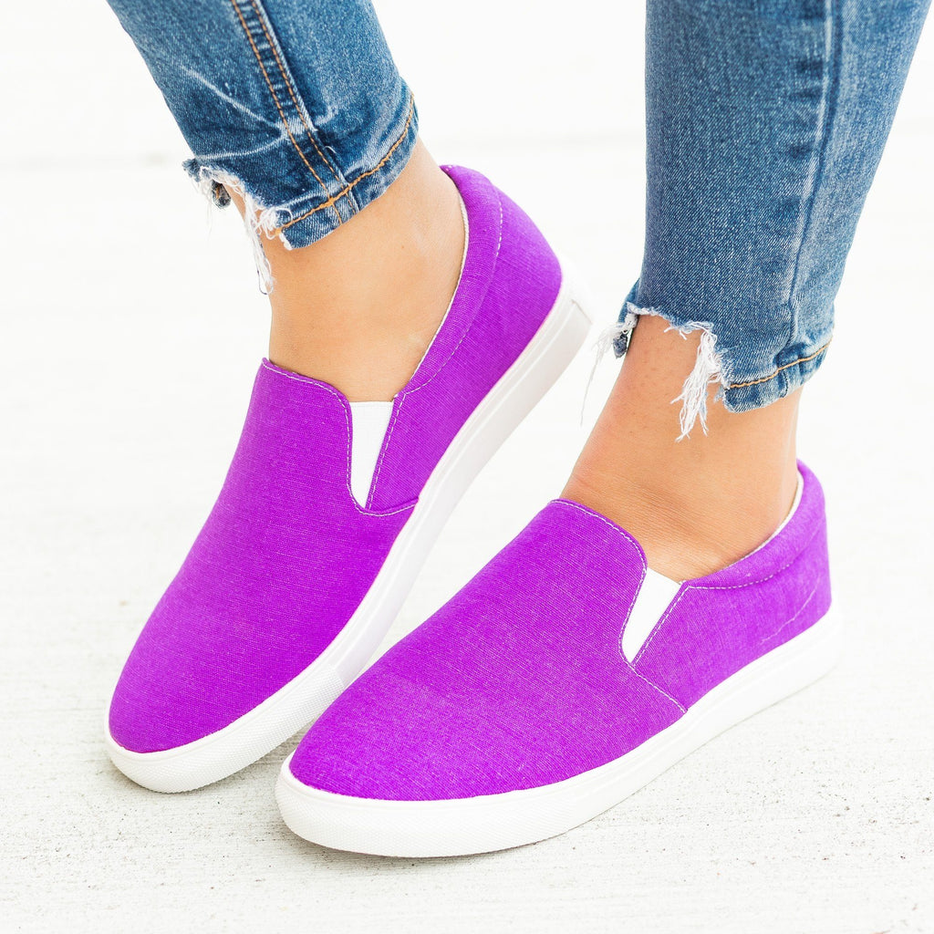 Womens Fun Neon Slip-On Sneakers - La Sheelah Shoes