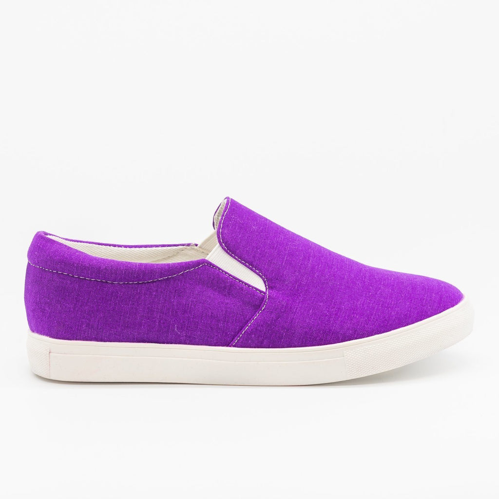 Womens Fun Neon Slip-On Sneakers - La Sheelah Shoes - Purple / 5