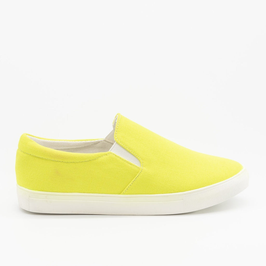 Womens Fun Neon Slip-On Sneakers - La Sheelah Shoes - Neon Yellow / 5