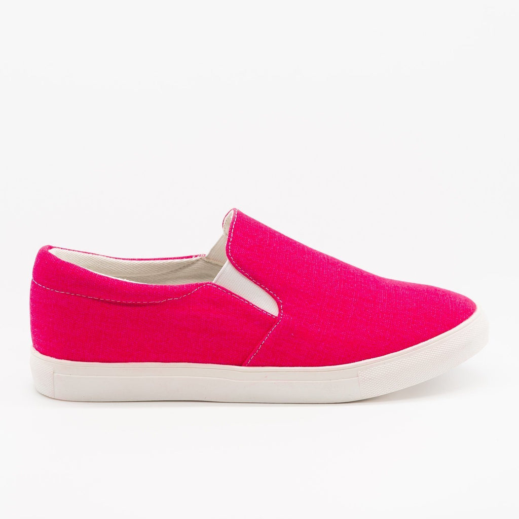 Womens Fun Neon Slip-On Sneakers - La Sheelah Shoes - Neon Fuchsia / 5