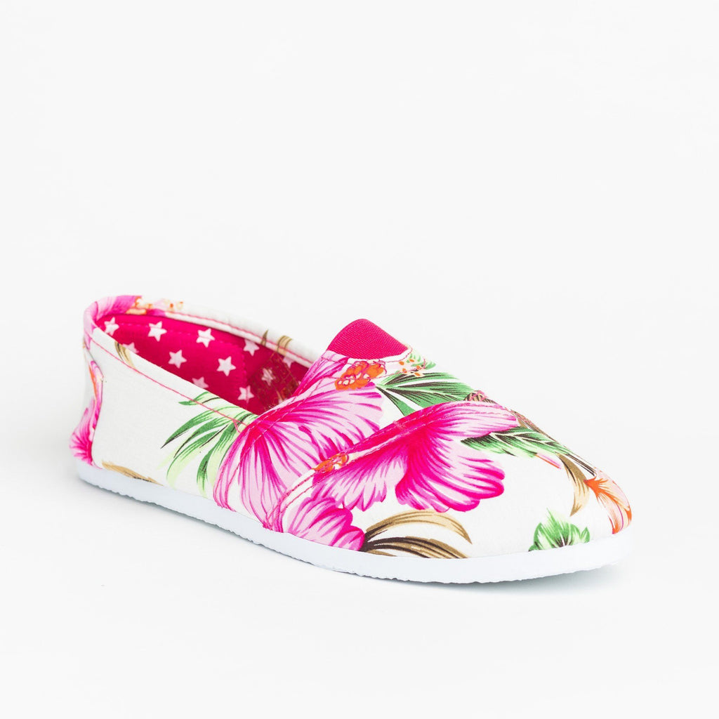 Womens Fun Printed Casual Slip-On Flats - Delicious Shoes - Fuchsia Hawaiian Flower / 5