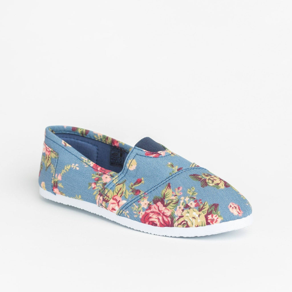 Womens Fun Printed Casual Slip-On Flats - Delicious Shoes - Light Denim Floral / 5