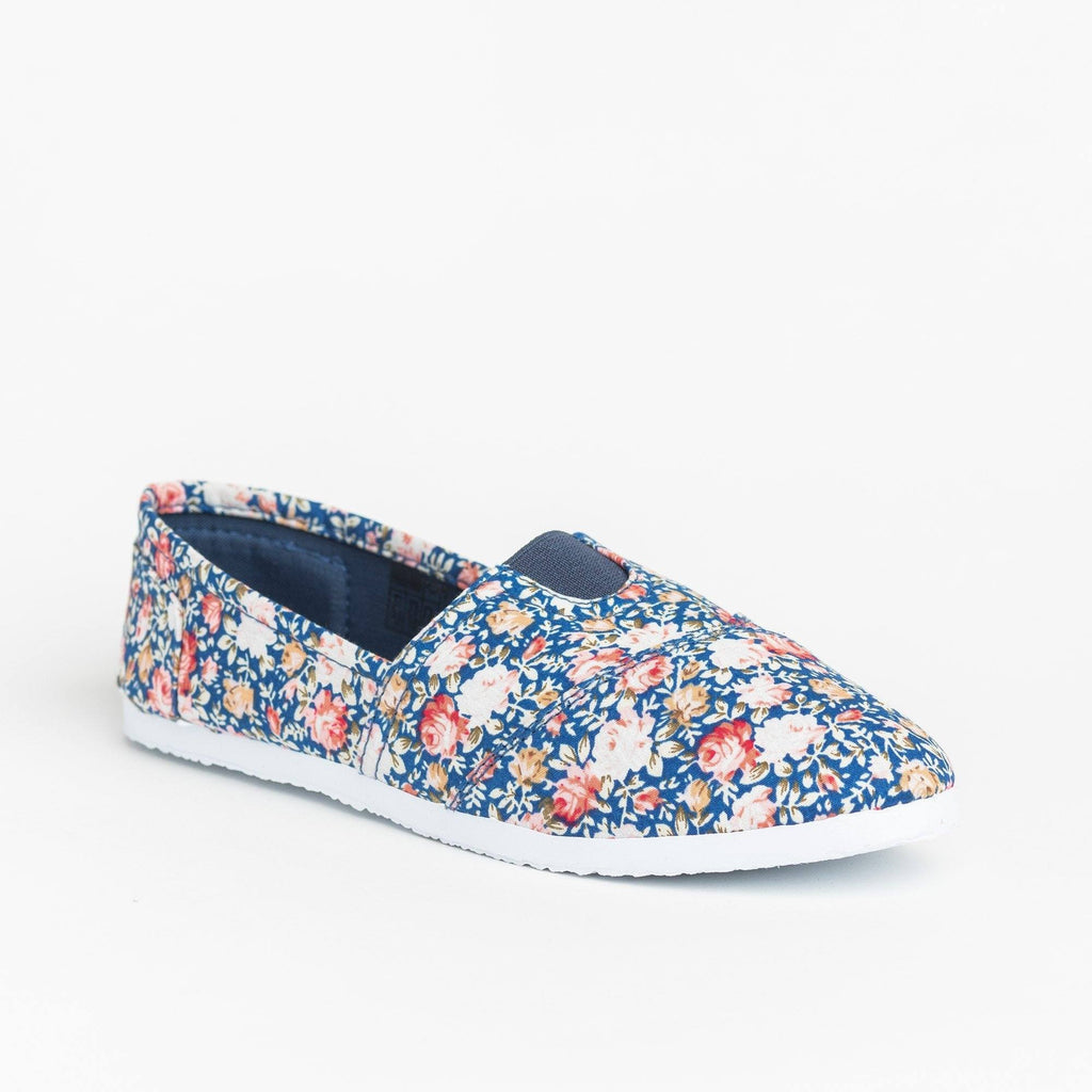 Womens Fun Printed Casual Slip-On Flats - Delicious Shoes - Blue Rose / 5