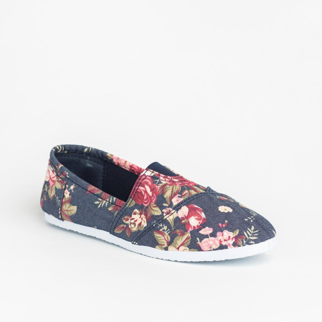 Womens Fun Printed Casual Slip-On Flats - Delicious Shoes - Dark Denim Floral / 5