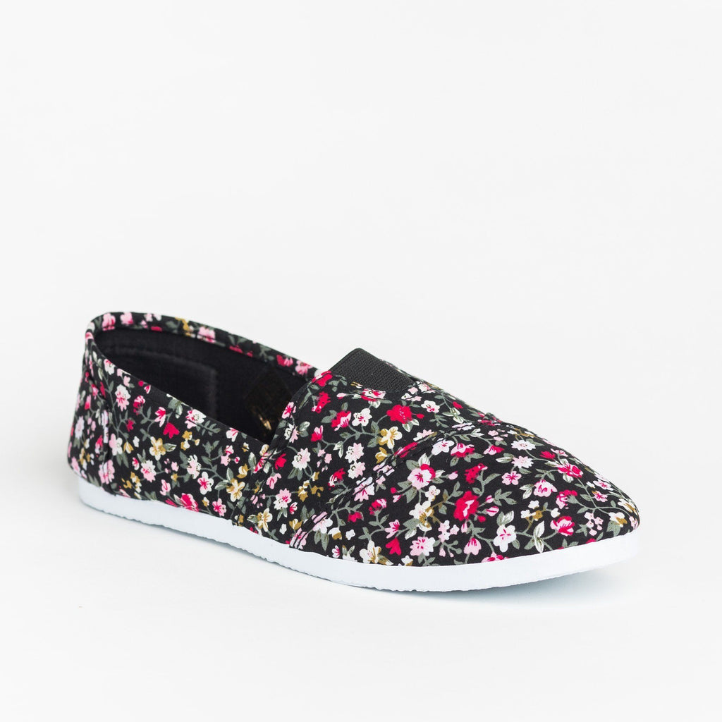 Womens Fun Printed Casual Slip-On Flats - Delicious Shoes - Black Flower / 5