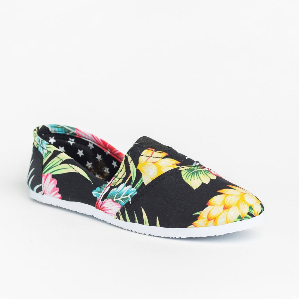 Womens Fun Printed Casual Slip-On Flats - Delicious Shoes - Black Hawaiian Flower / 5