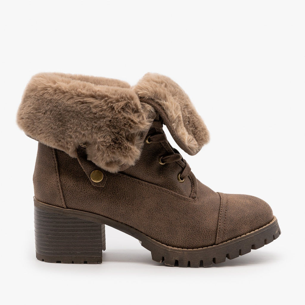 Womens Fur Cuff Combat Boot - Bamboo Shoes - Taupe / 5