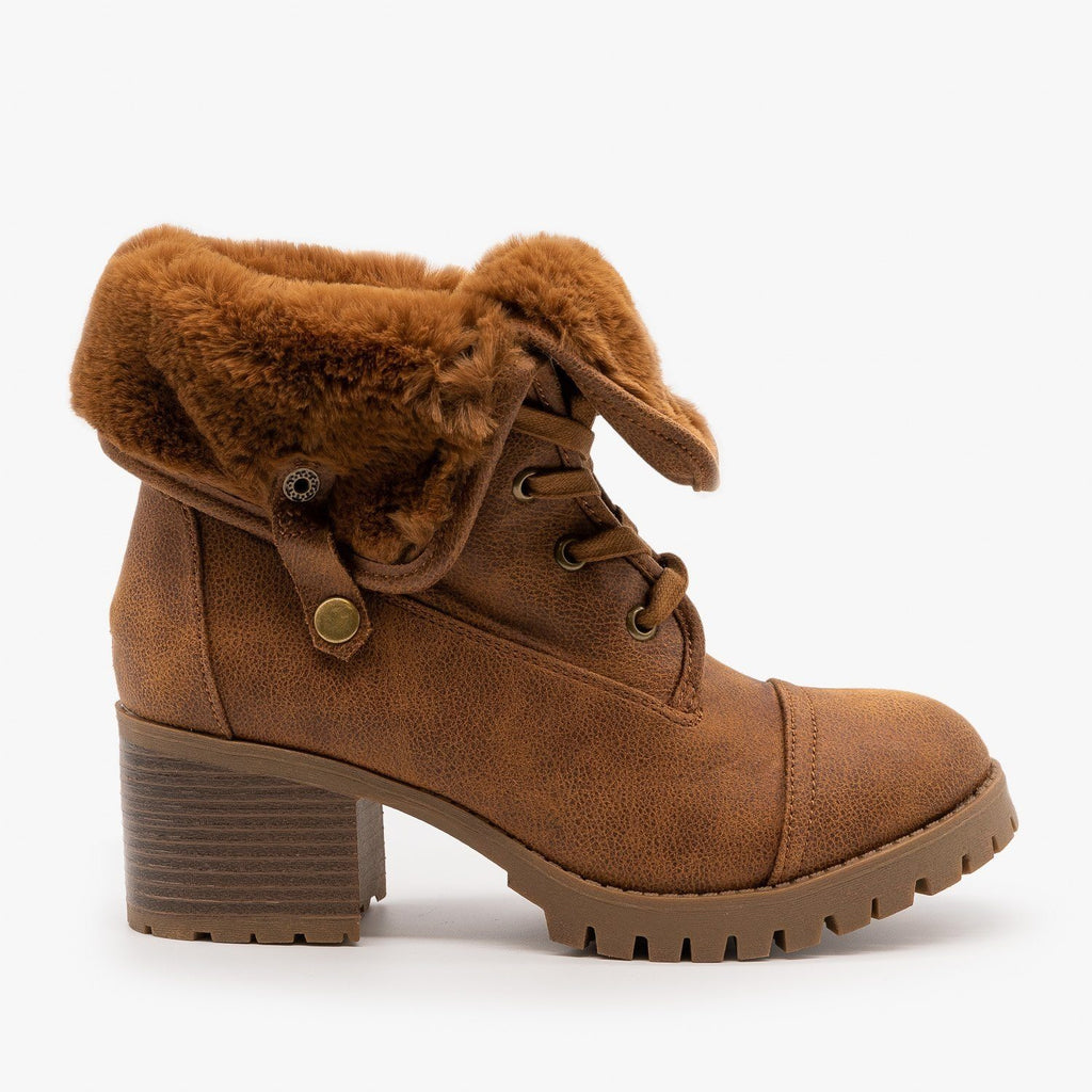 Womens Fur Cuff Combat Boot - Bamboo Shoes - Chestnut / 5