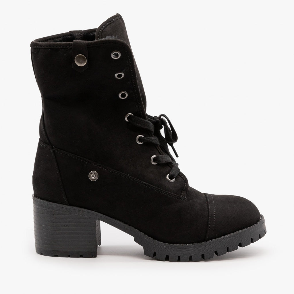 Womens Fur Cuff Combat Boot - Bamboo Shoes
