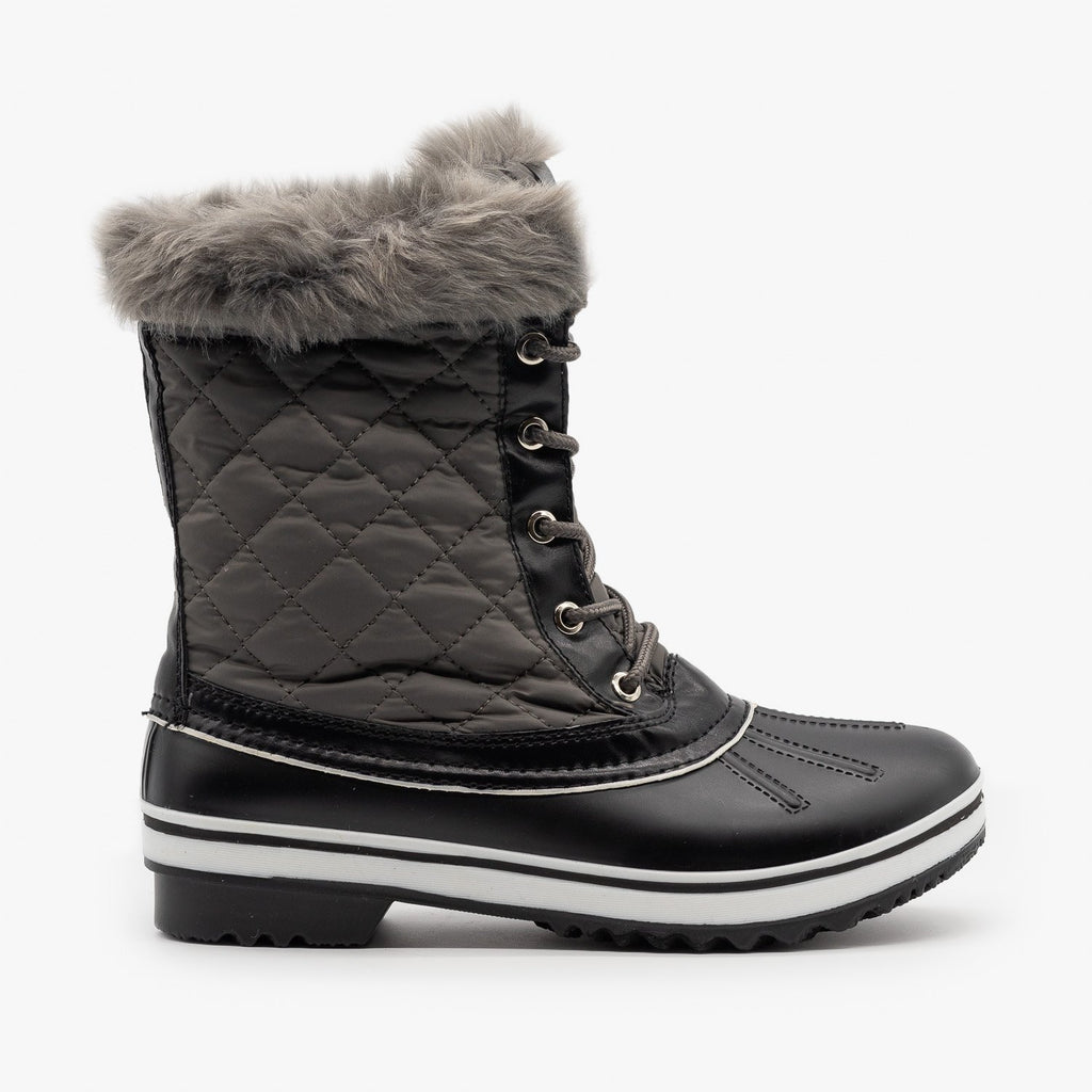 Womens Fur Cuff Quilted Snow Boots - Forever