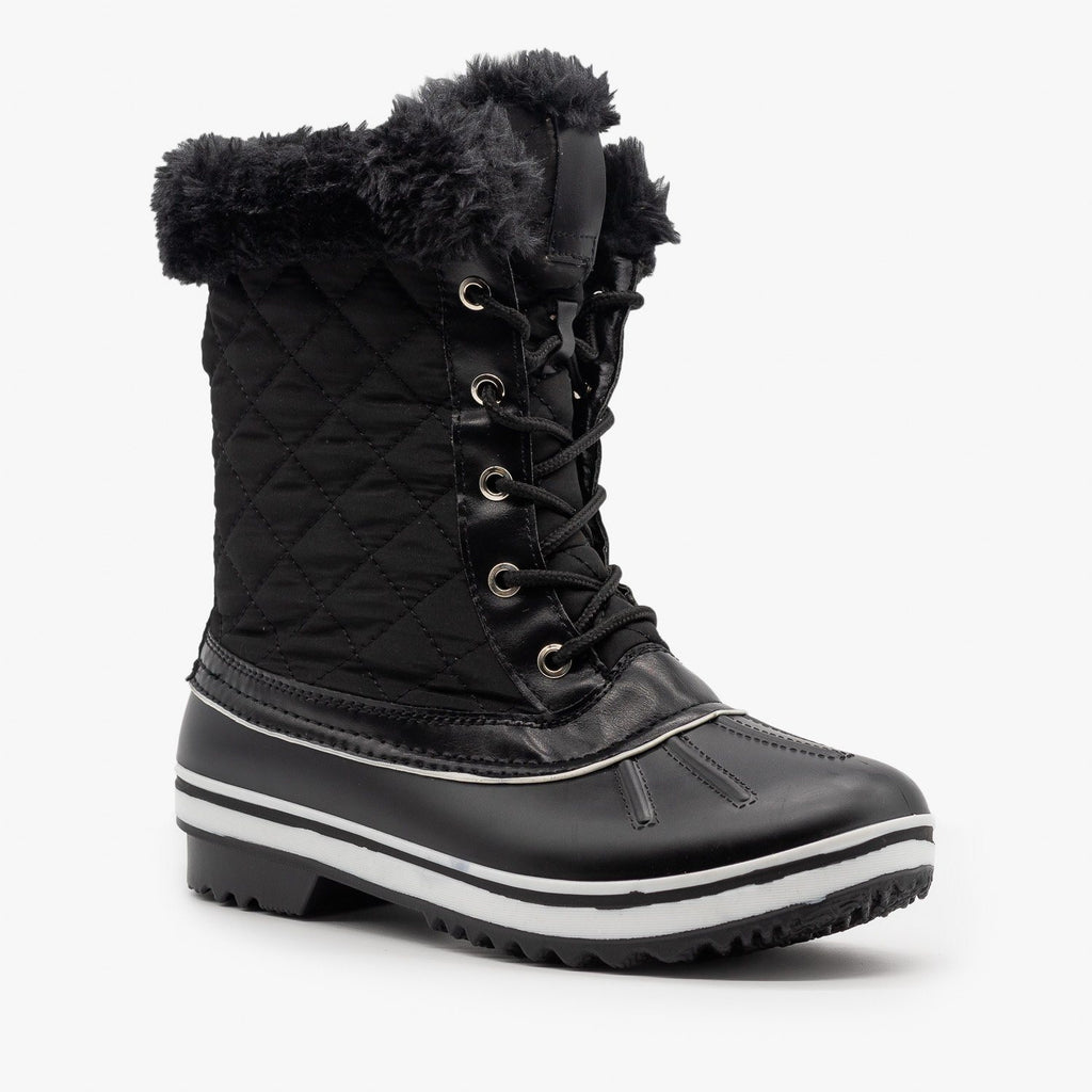 Womens Fur Cuff Quilted Snow Boots - Forever - Black / 5