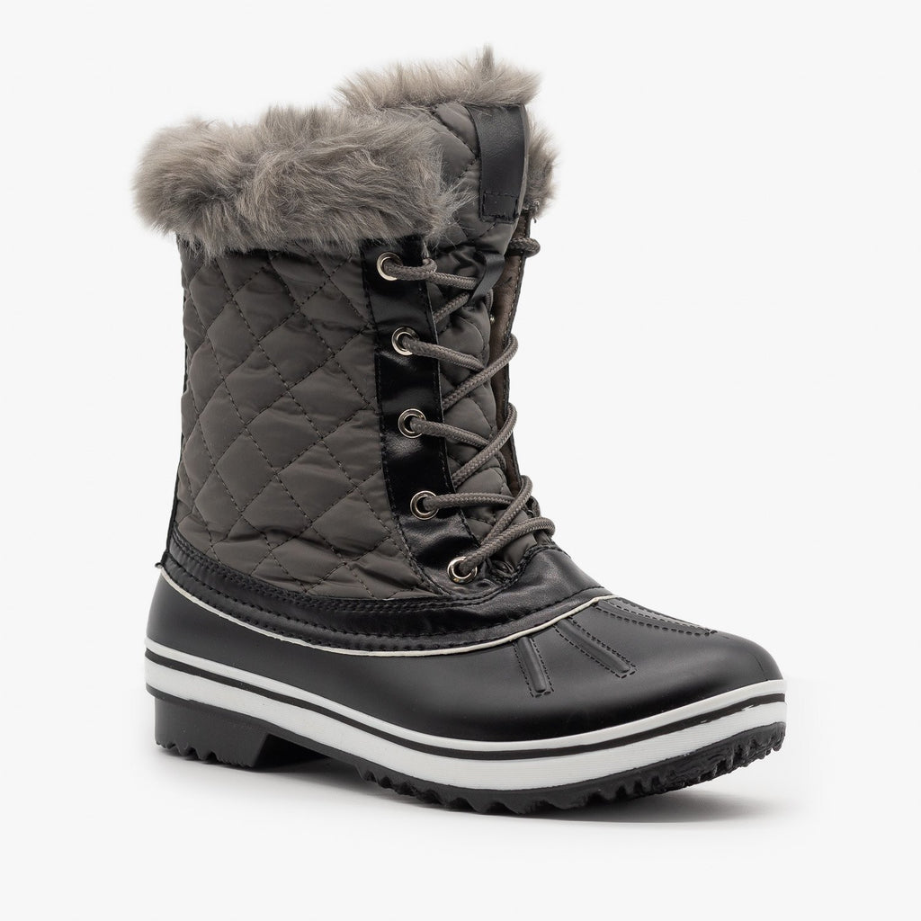Womens Fur Cuff Quilted Snow Boots - Forever - Gray / 5