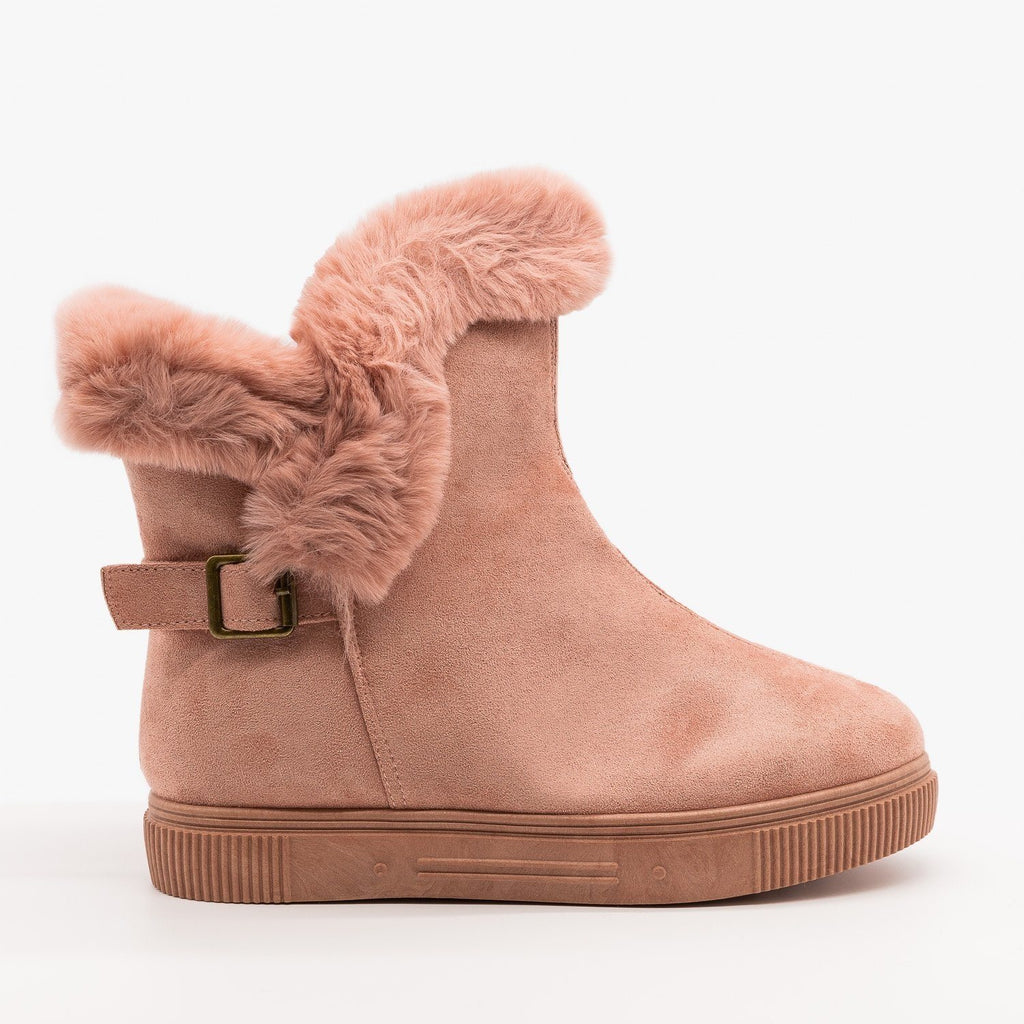 Womens Fur Cuffed Comfort Booties - Bamboo - Pink / 5