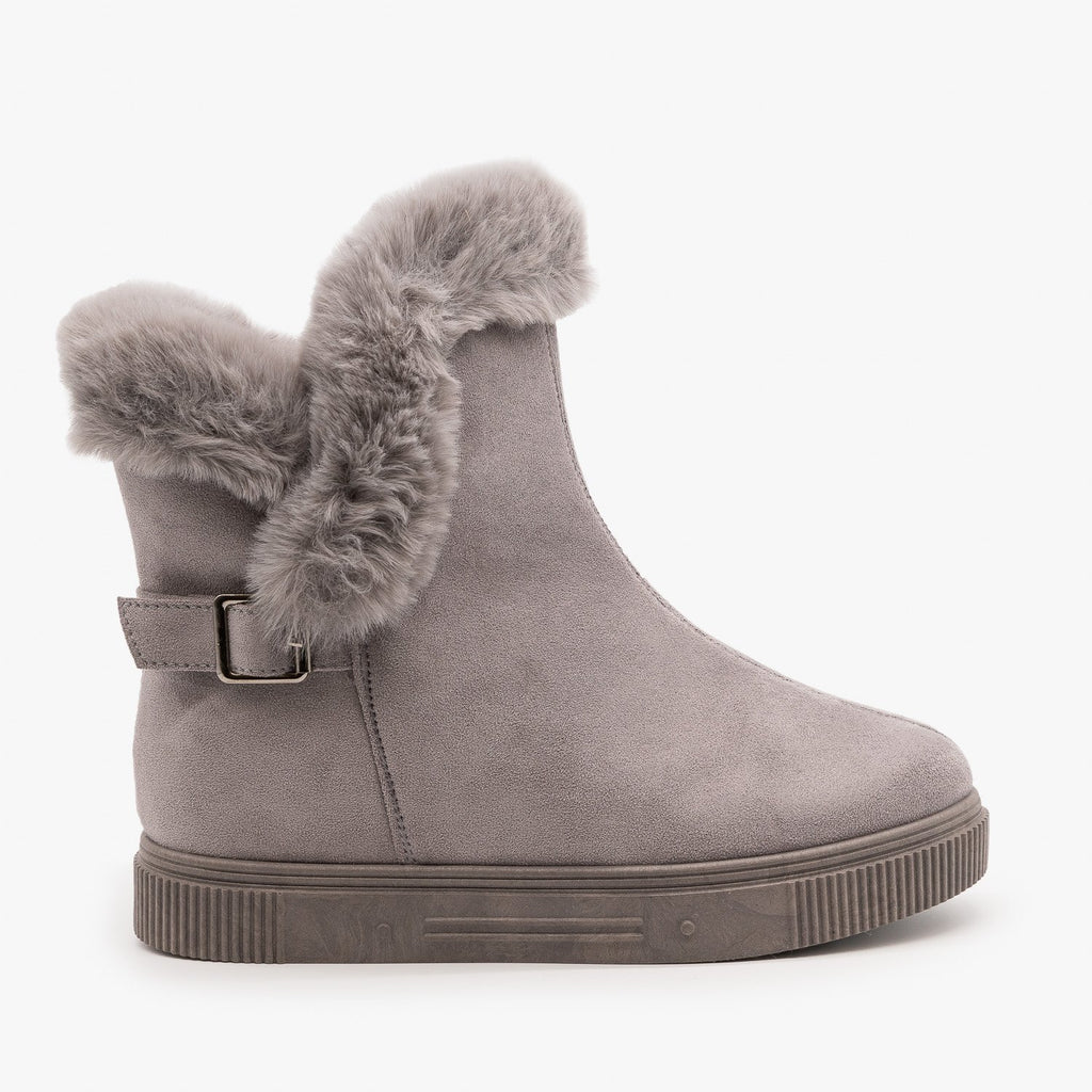 Womens Fur Cuffed Comfort Booties - Bamboo - Gray / 5