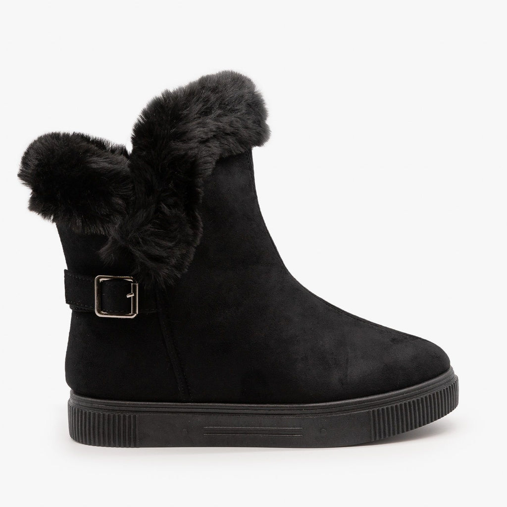 Womens Fur Cuffed Comfort Booties - Bamboo - Black / 5