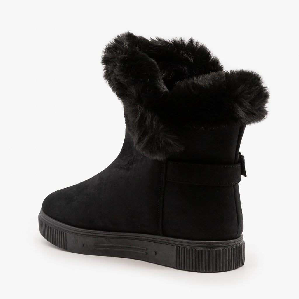 Womens Fur Cuffed Comfort Booties - Bamboo