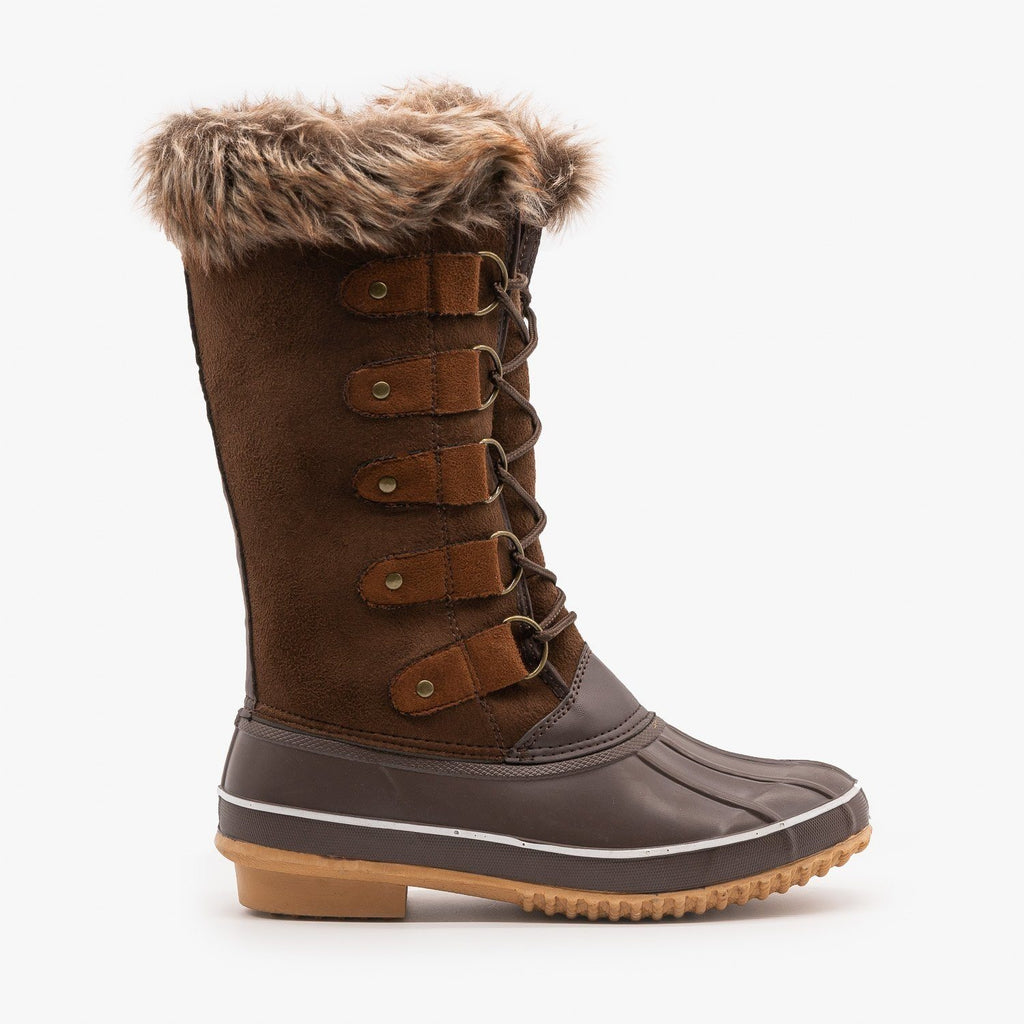 Womens Fur Cuffed Duck Snow Boots - Weeboo - Brown / 5