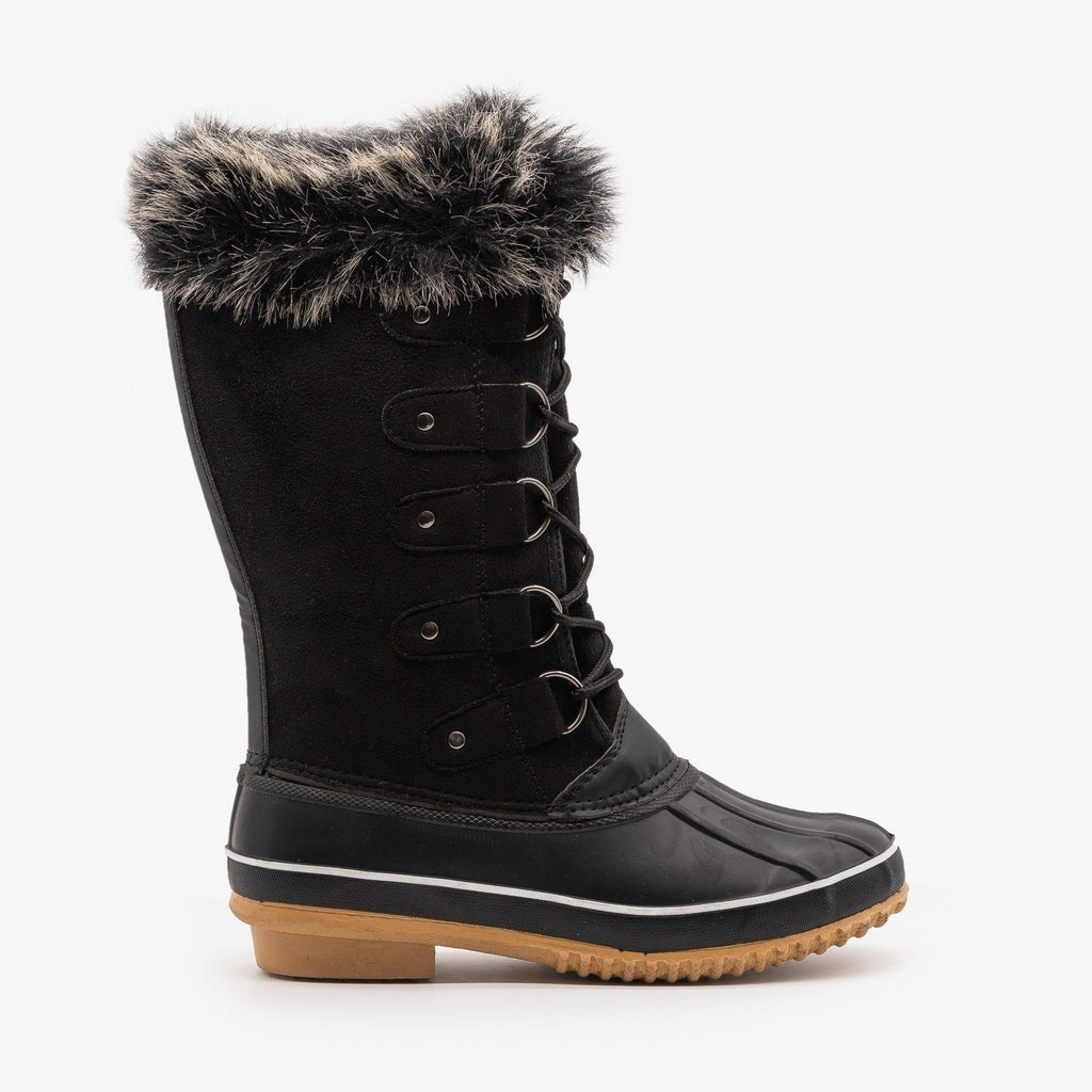 Womens Fur Cuffed Duck Snow Boots - Weeboo - Black / 5