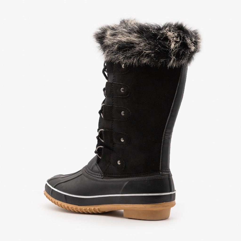 Womens Fur Cuffed Duck Snow Boots - Weeboo
