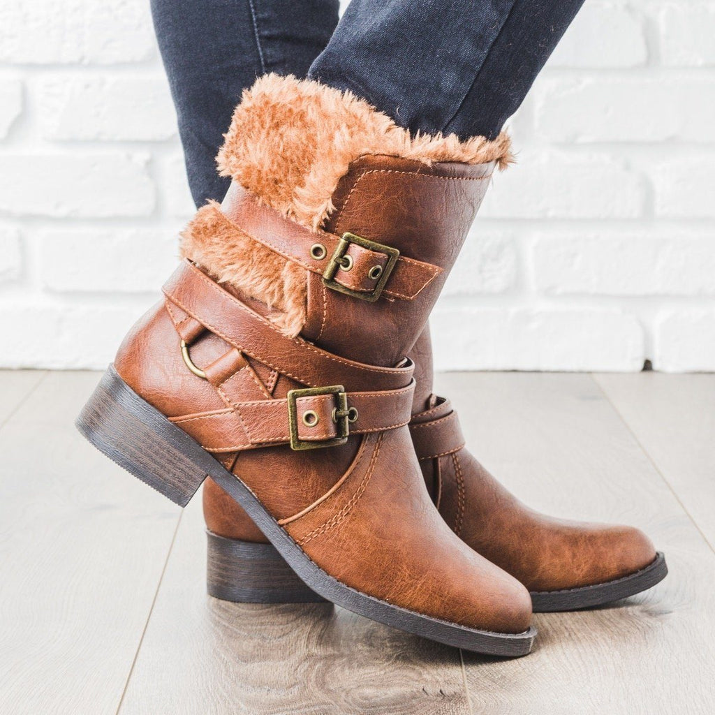 Womens Fur Lined Buckle Boots - Soda Shoes