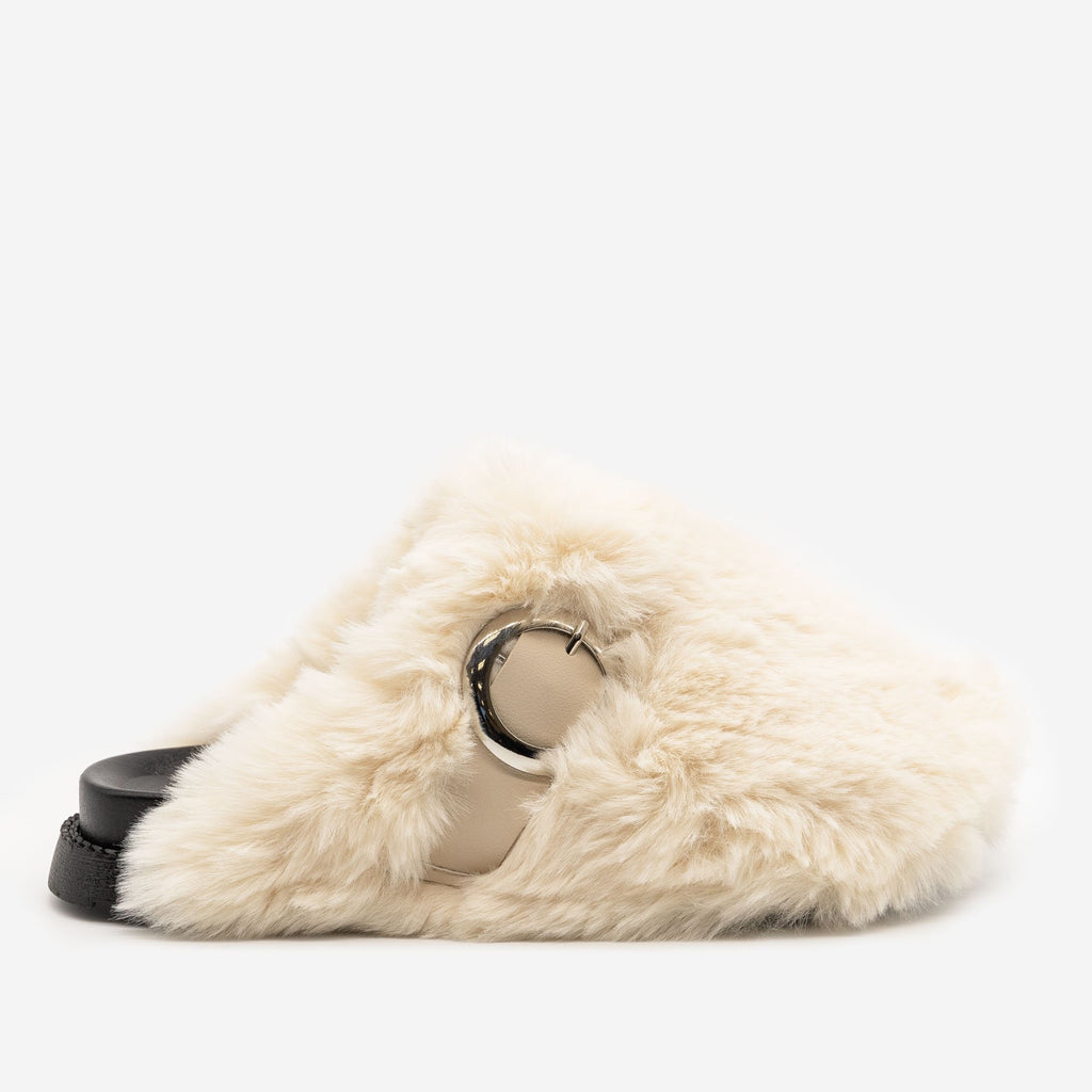 Women's Furry Buckled Slippers - H2K Shoes - Ivory / 5