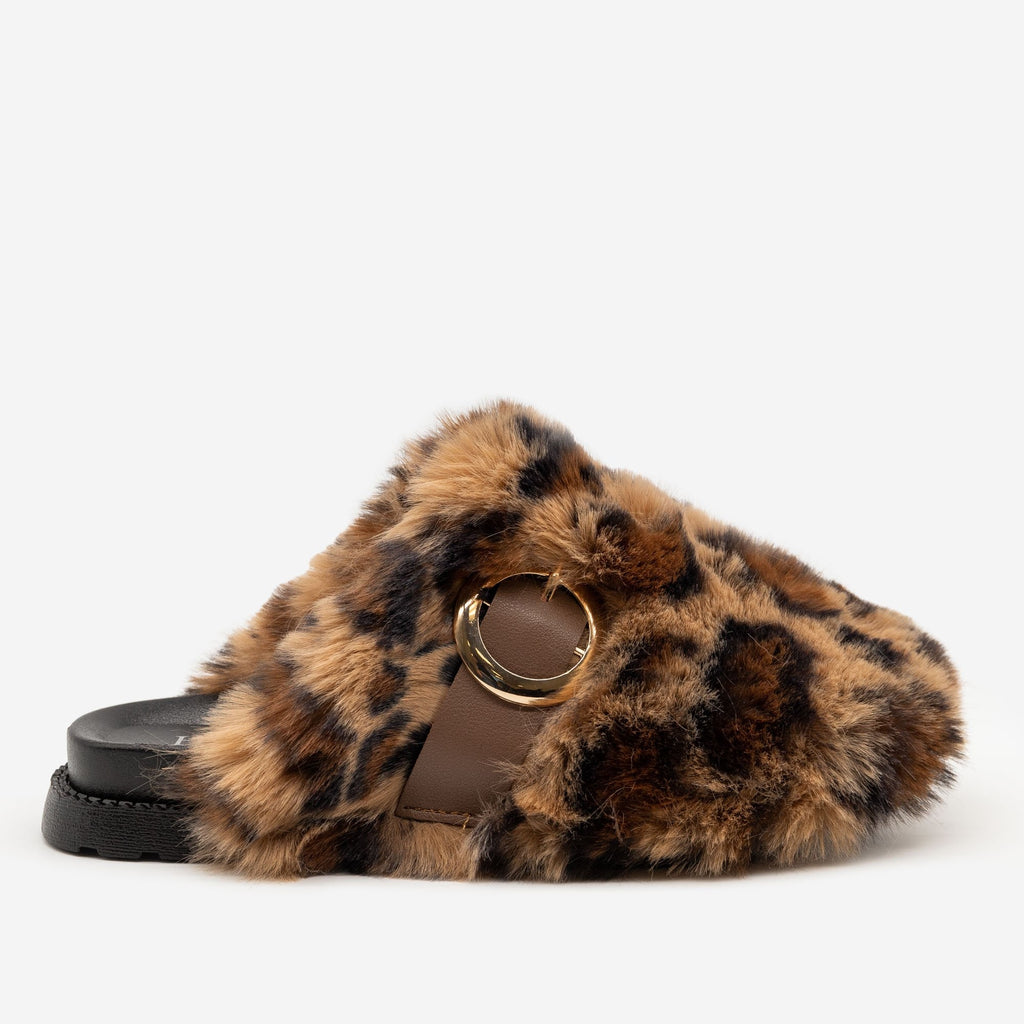 Women's Furry Buckled Slippers - H2K Shoes - Leopard / 5