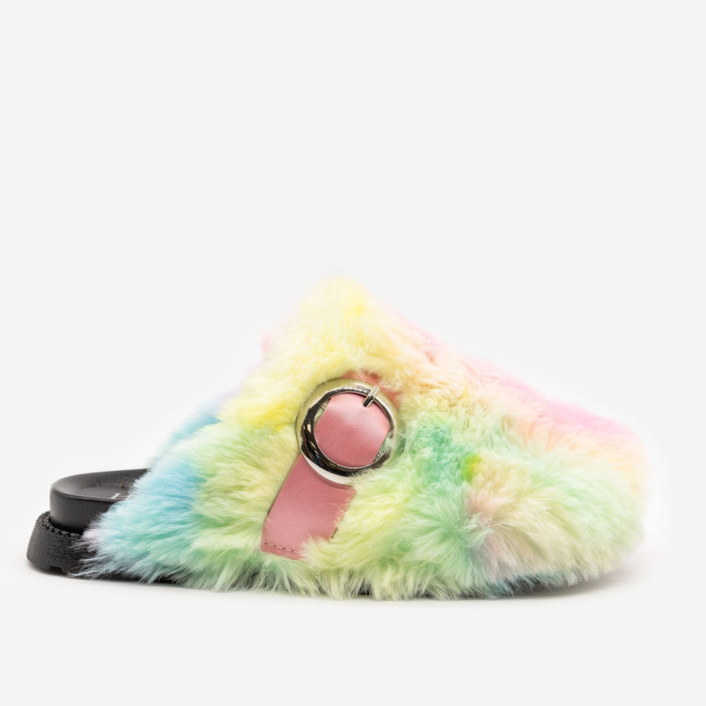 Women's Furry Buckled Slippers - H2K Shoes - Rainbow / 5