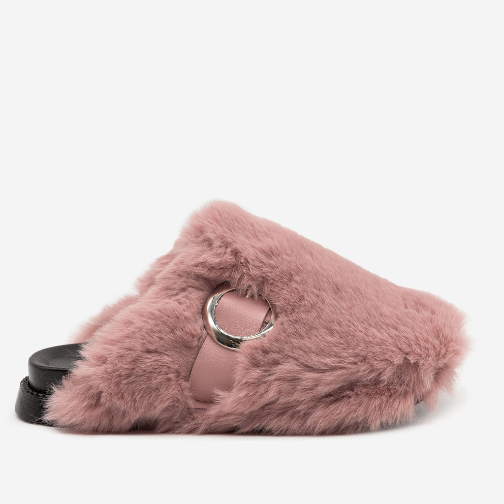 Women's Furry Buckled Slippers - H2K Shoes - Dusty Blush / 5