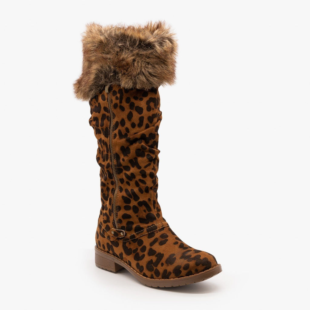 Womens Furry Cuff Animal Print Boots - Mata - Leopard / 5