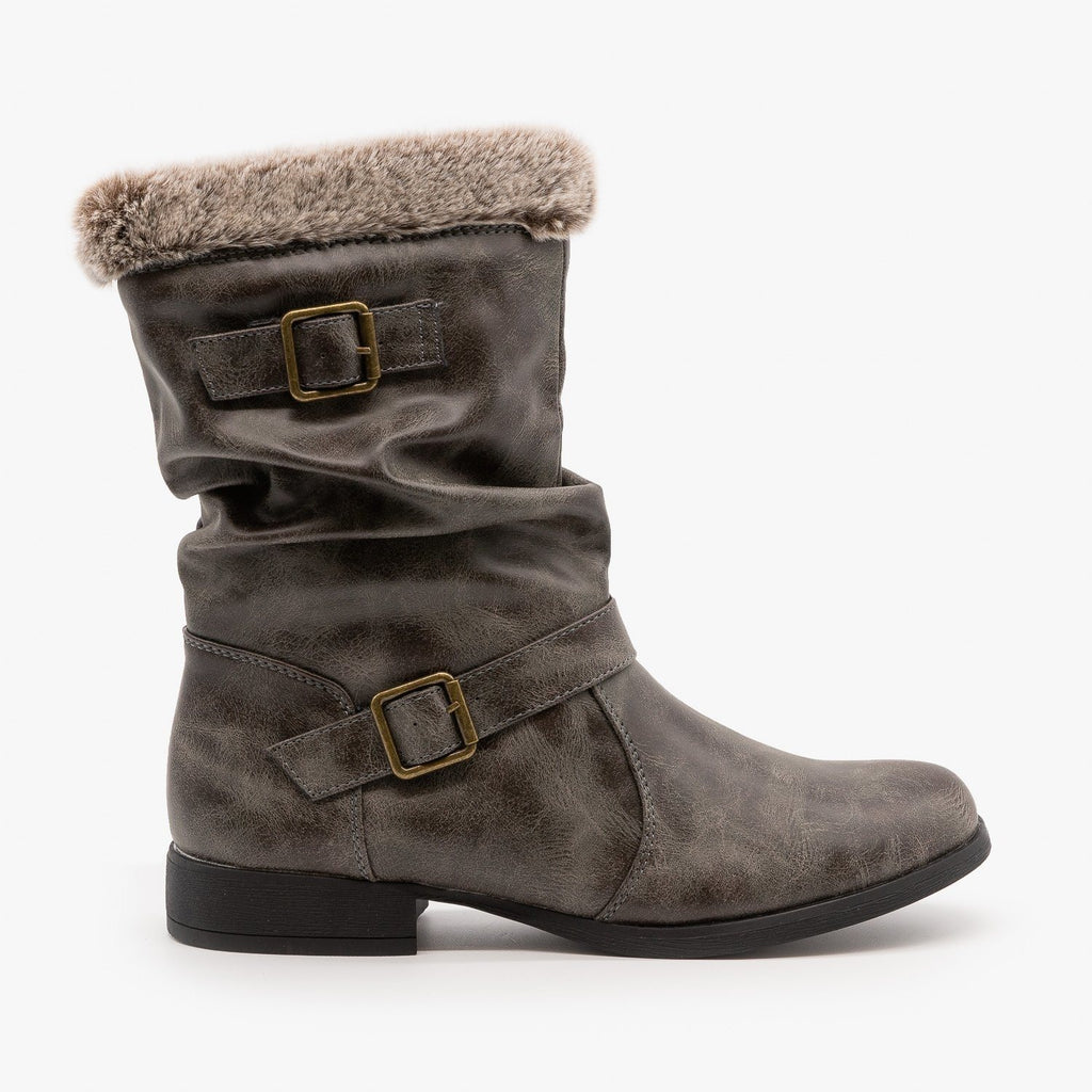 Womens Furry Cuff Buckle Boots - Unilady - Charcoal / 5