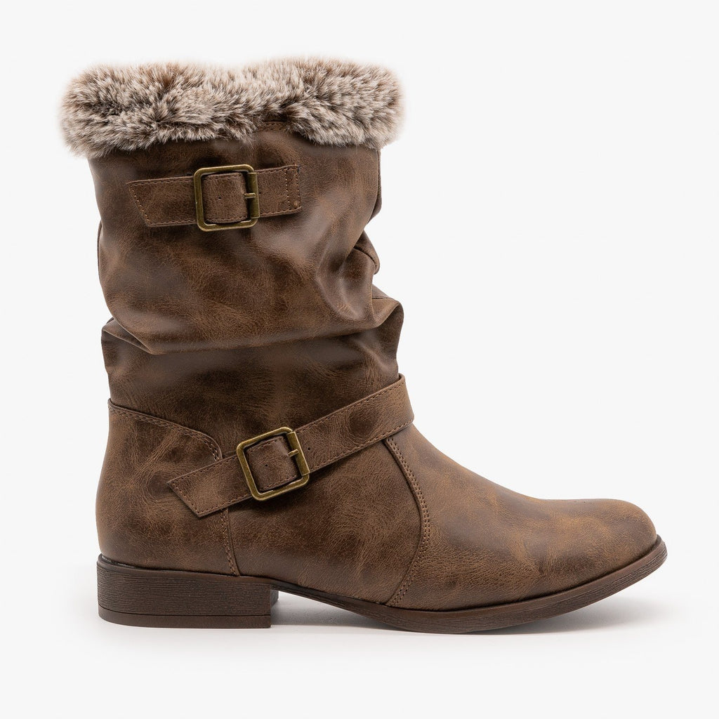 Womens Furry Cuff Buckle Boots - Unilady - Cognac / 5