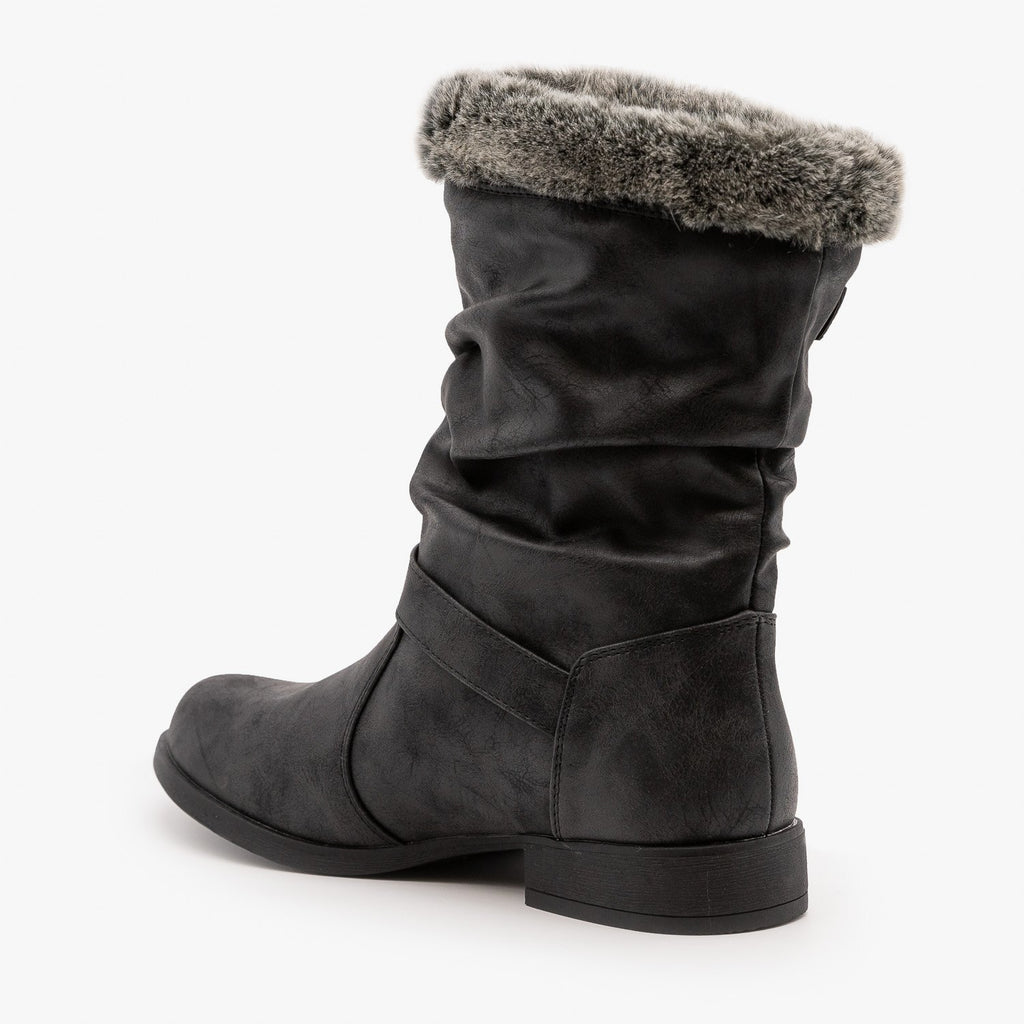 Womens Furry Cuff Buckle Boots - Unilady