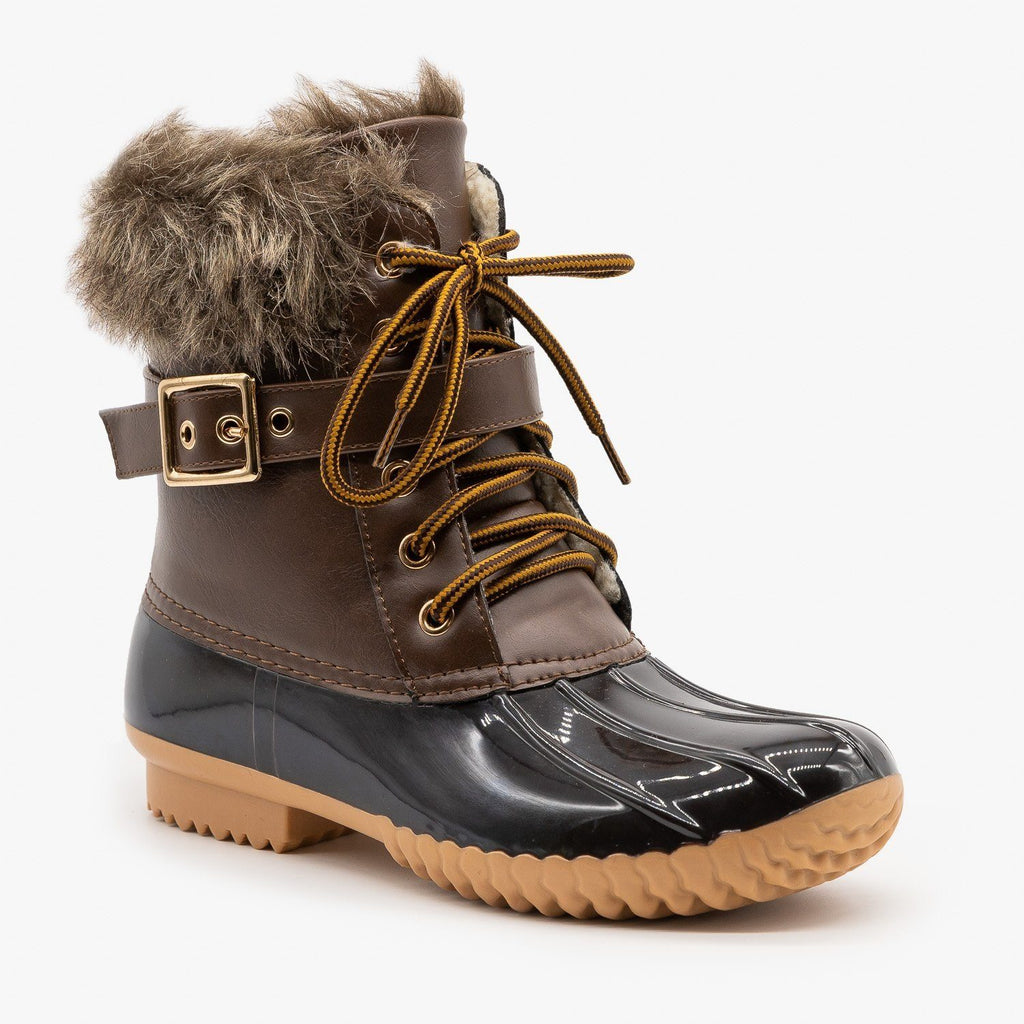 Womens Furry Cuff Duck Boots - Nature Breeze - Brown / 5