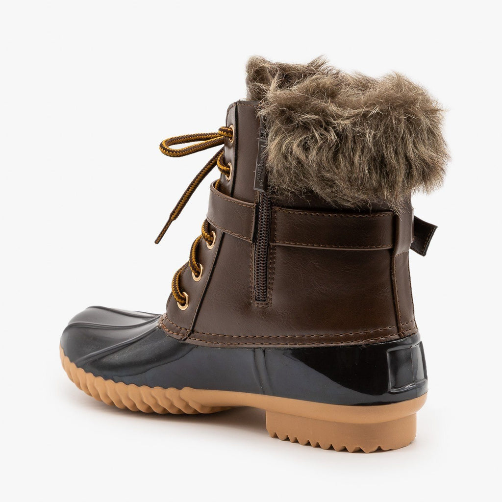 Womens Furry Cuff Duck Boots - Nature Breeze