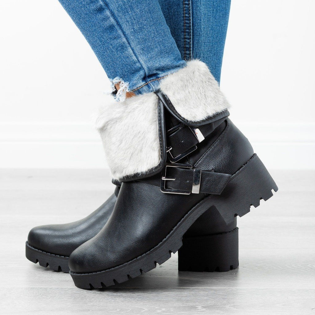 Womens Furry Folded Cuff Boots - Soda Shoes