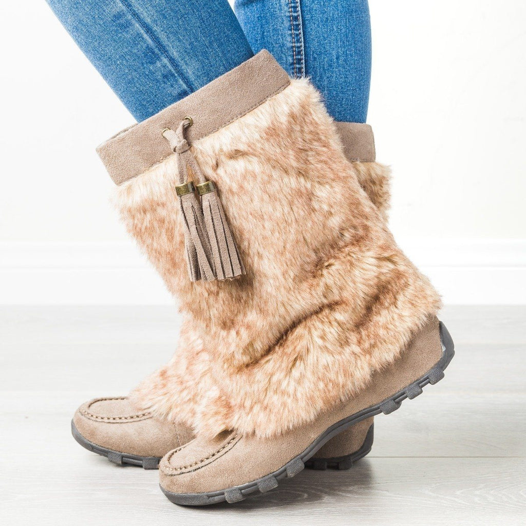 Womens Furry Mid-Calf Boots - Soda Shoes - Dark Taupe / 5