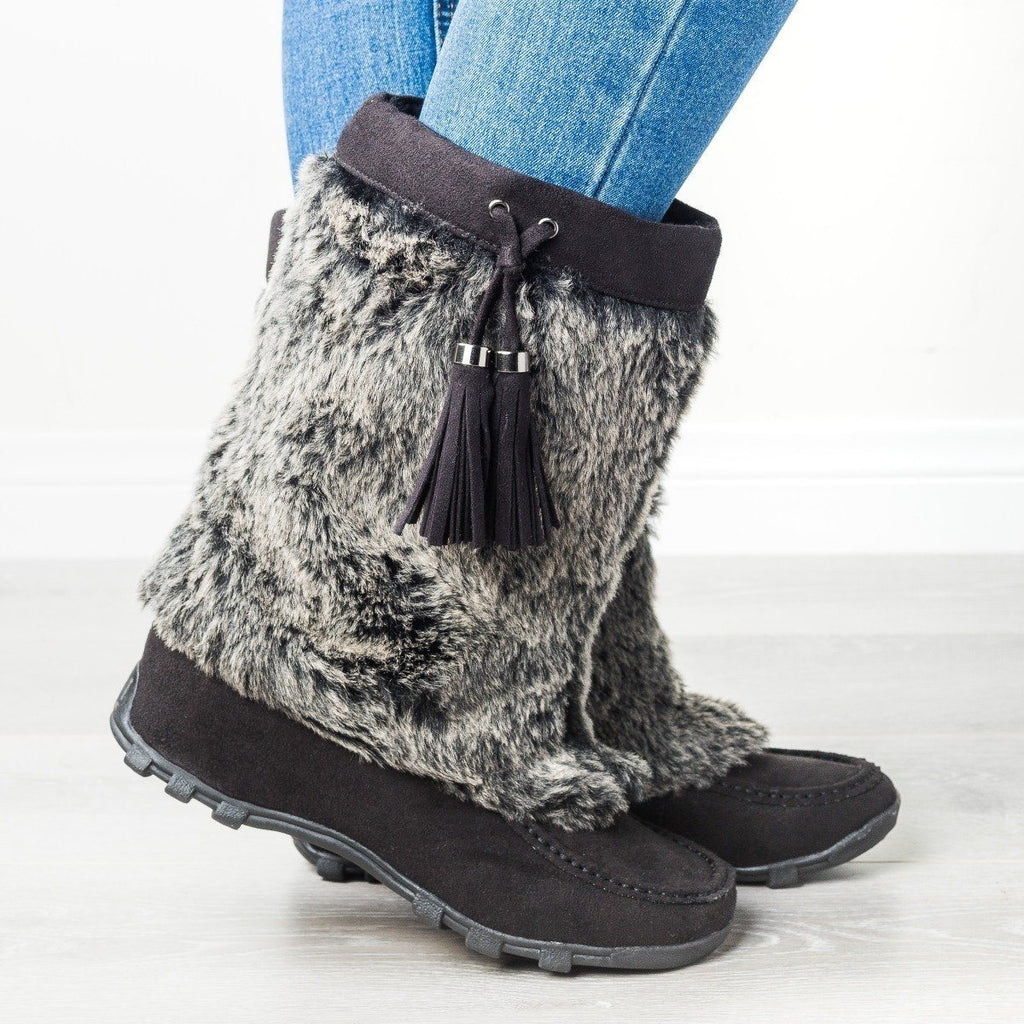 Womens Furry Mid-Calf Boots - Soda Shoes - Black / 5