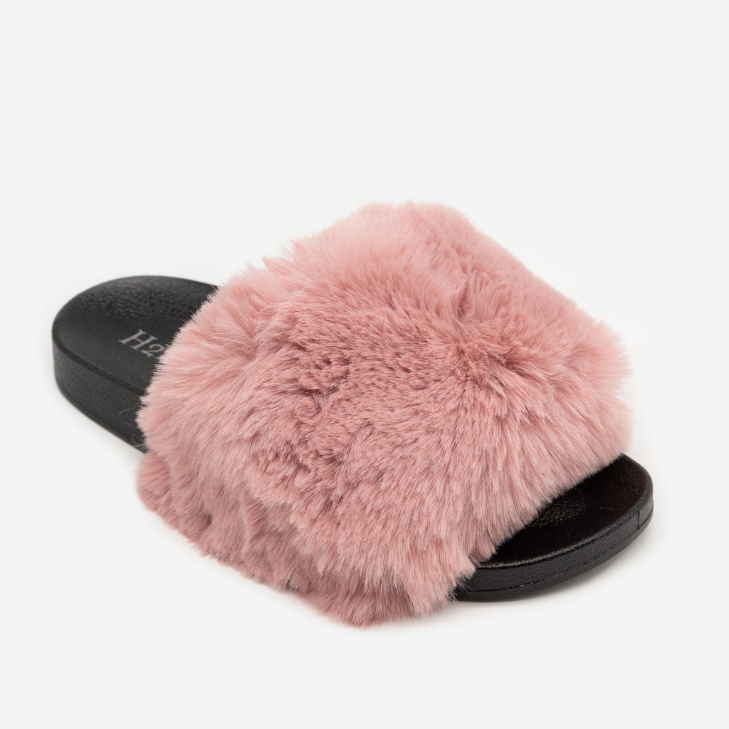 Women's Furry Open Toe Slides - H2K Shoes