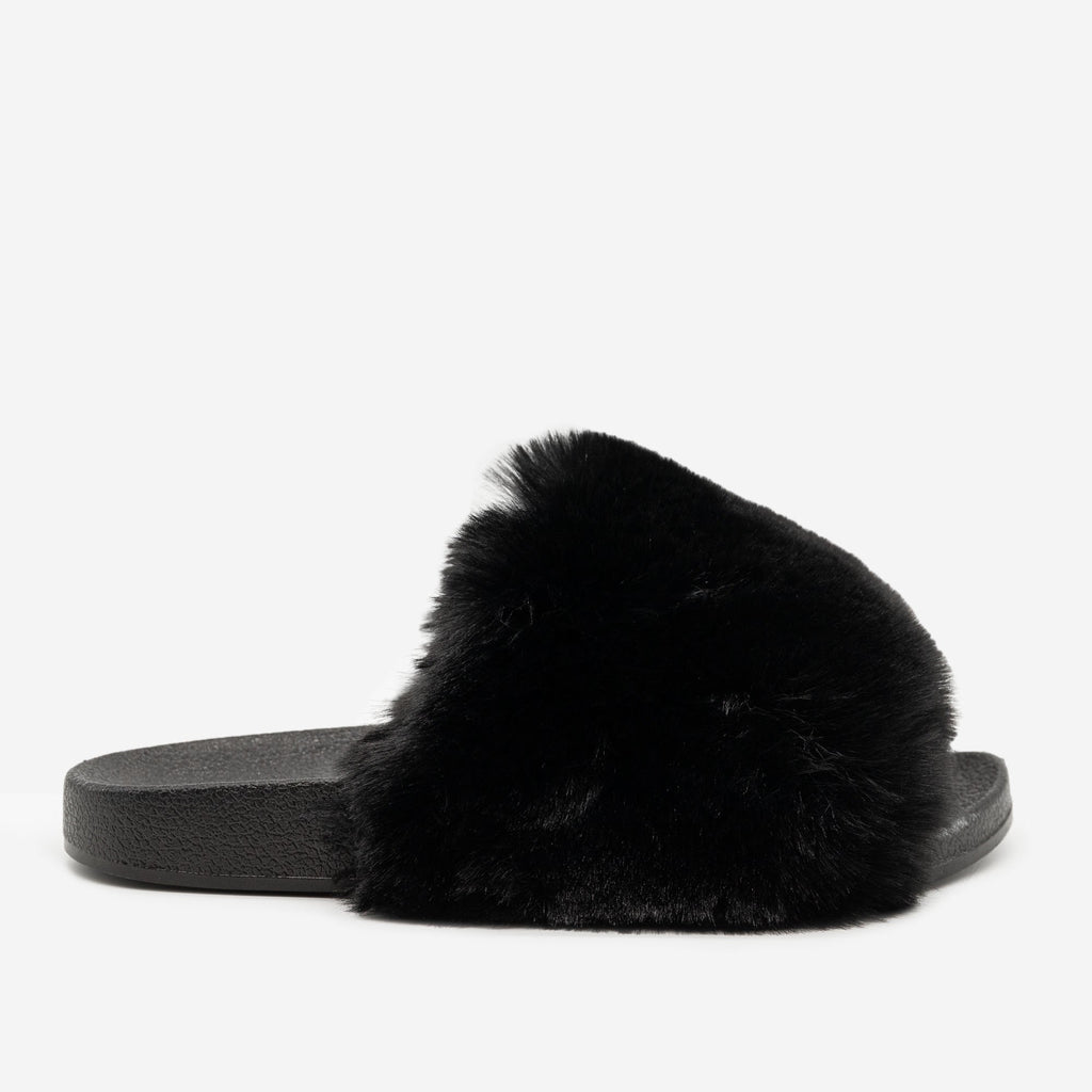 Women's Furry Open Toe Slides - H2K Shoes - Black / 5