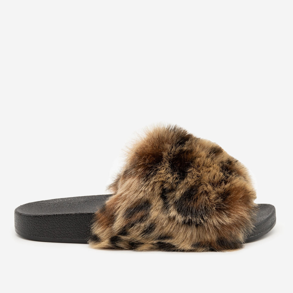 Women's Furry Open Toe Slides - H2K Shoes - Leopard / 5