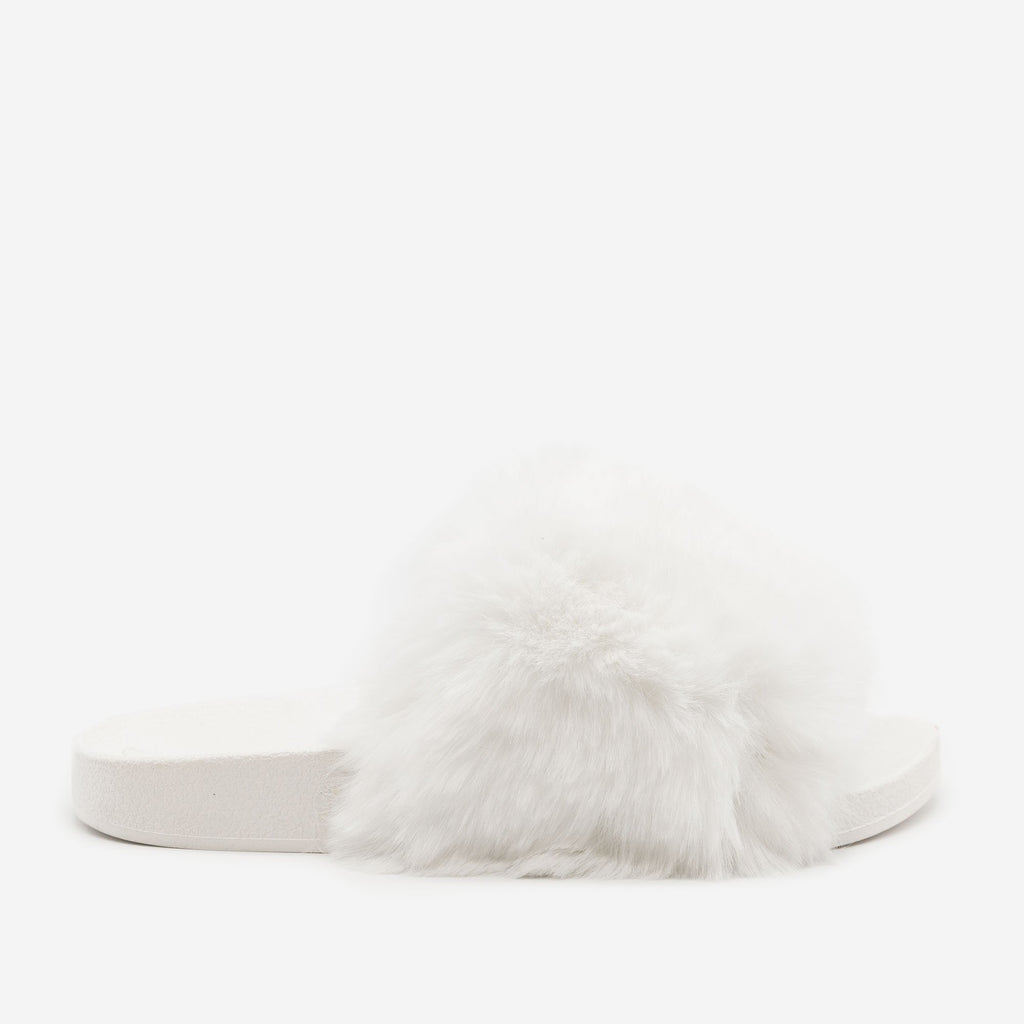 Women's Furry Open Toe Slides - H2K Shoes - White / 5