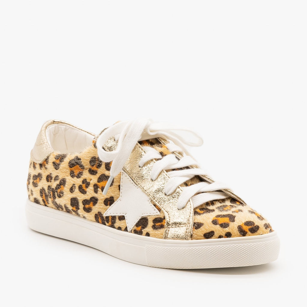 Womens Fuzzy Cheetah Fashion Sneakers - Nature Breeze - Cheetah / 5