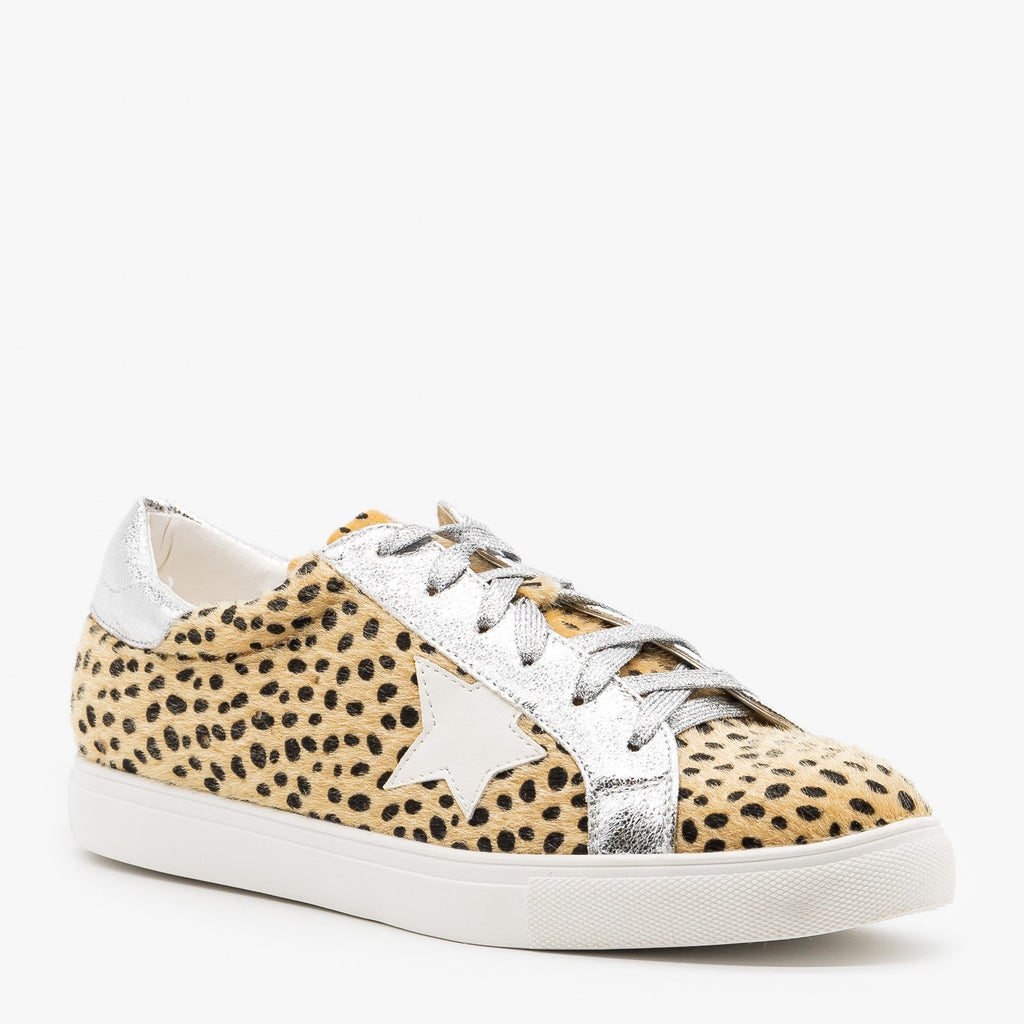 Womens Fuzzy Cheetah Fashion Sneakers - Nature Breeze