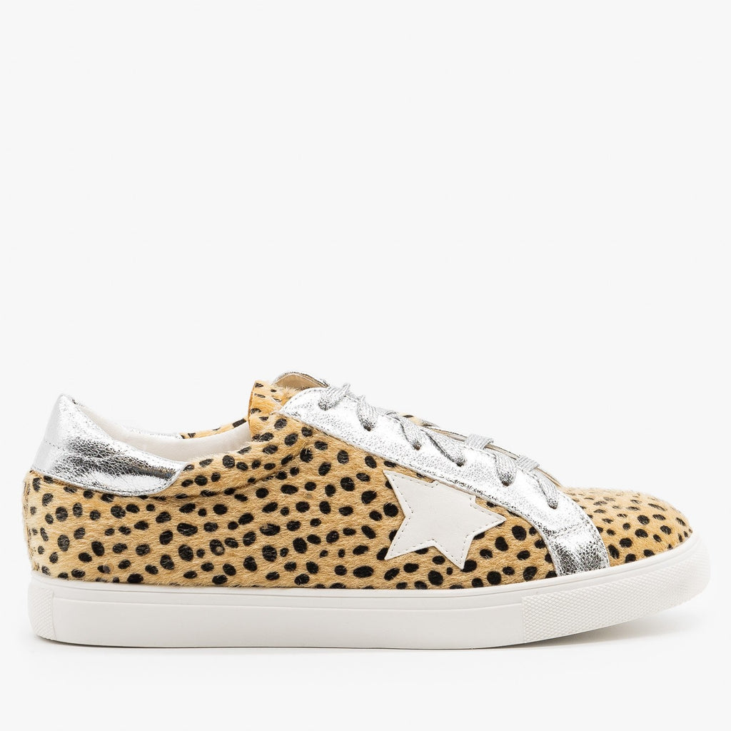 Womens Fuzzy Cheetah Fashion Sneakers - Nature Breeze - Silver Cheetah / 5