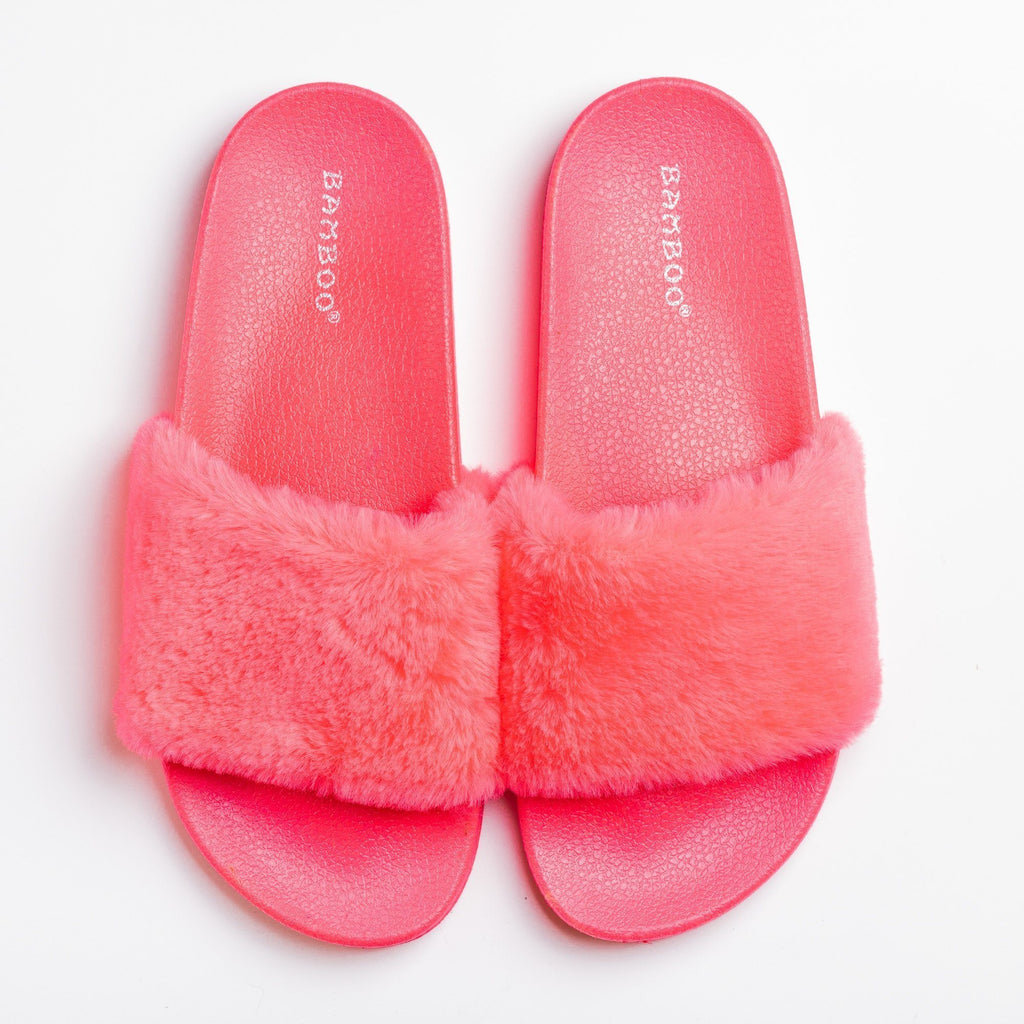 Womens Fuzzy Neon Slides - Bamboo Shoes - Neon Pink / 5