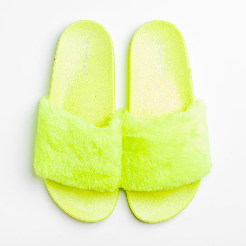 Womens Fuzzy Neon Slides - Bamboo Shoes - Neon Yellow / 5
