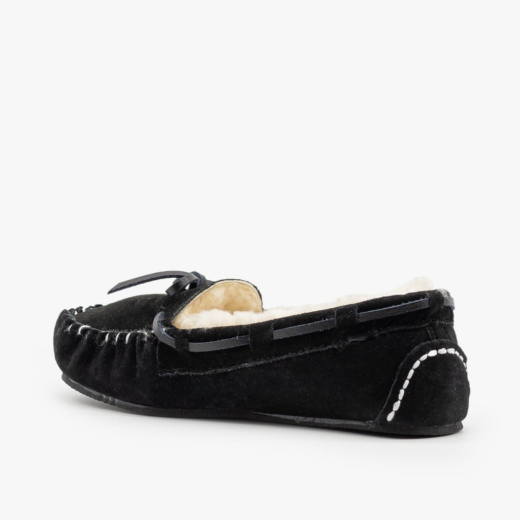 Womens Genuine Leather + Sheepskin Moccasin Flats - Glister